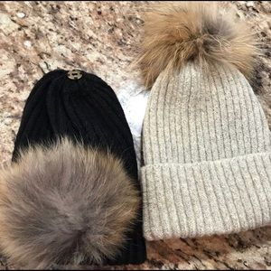 Accessories - One black and one tan hat with mink pom-pom